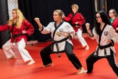 female martial artists blocking